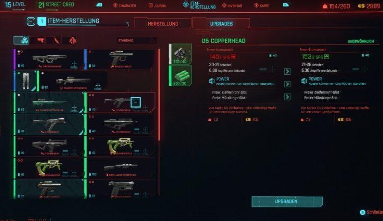 The create menu in Cyberpunk 2077