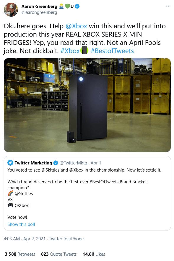 Xbox Series X mini fridge tweet